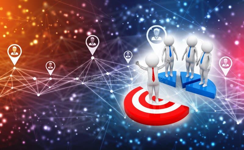 Biznesowy sieci pojęcie, celów ludzie świadczenia 3 d ilustracja wektor