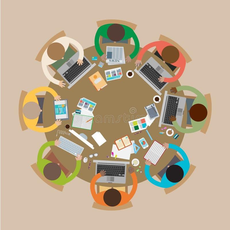 Biznesowy spotkanie, brainstorming w mieszkanie stylu ilustracji