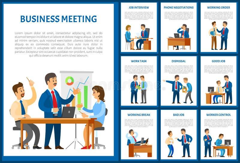 Biznesowy spotkanie Drużynowy negocjacja plakata set royalty ilustracja