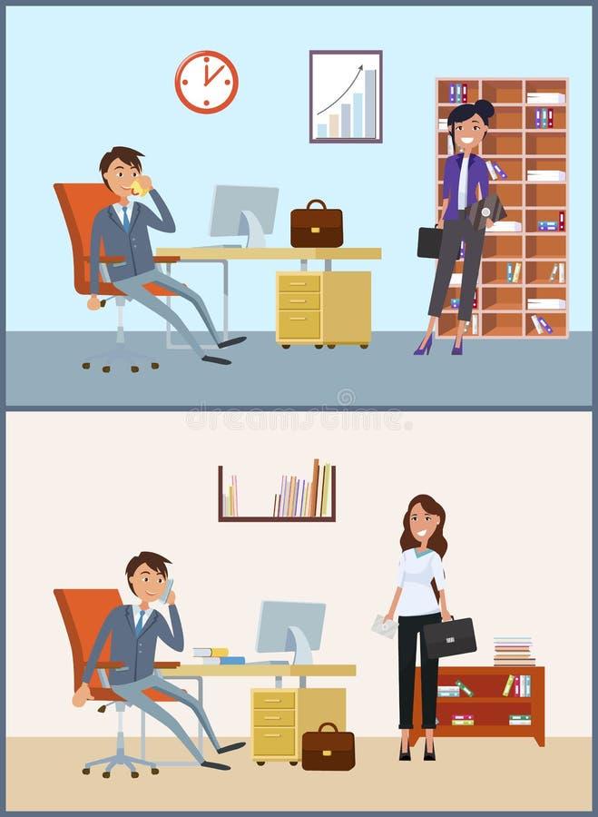 Biznesowy spotkanie, klient i dyrektor w biurze, ilustracji