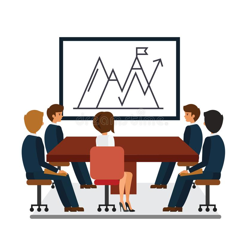 Biznesowy spotkanie, marketingowej prezentaci kreskówki płaski wektorowy ilustracyjny pojęcie na odosobnionym białym tle royalty ilustracja