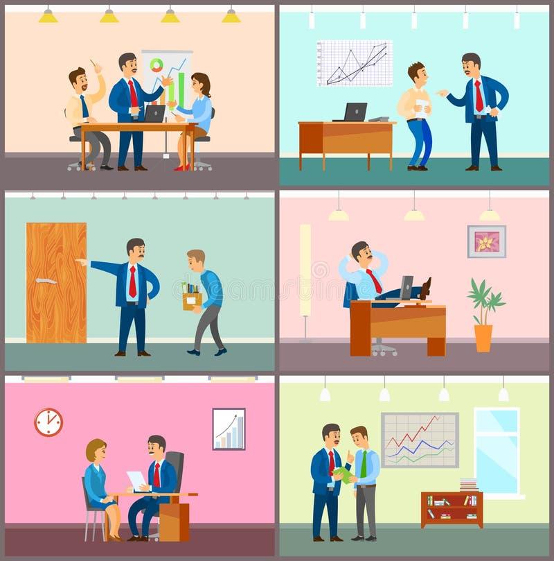 Biznesowy spotkanie, pracy zespołowej Brainstorming w biurze royalty ilustracja