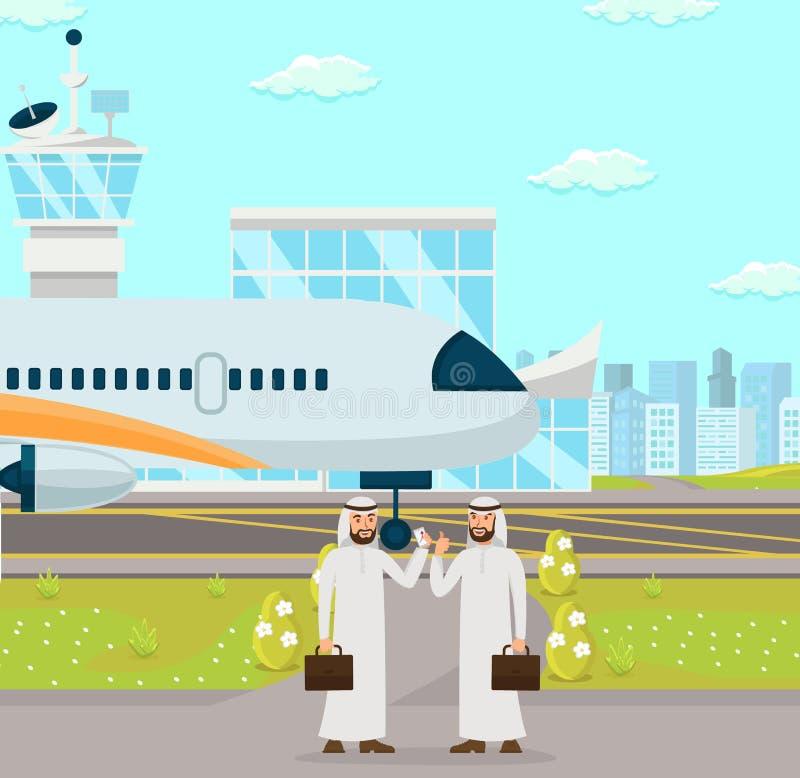 Biznesowy spotkanie przy lotniskiem również zwrócić corel ilustracji wektora ilustracja wektor