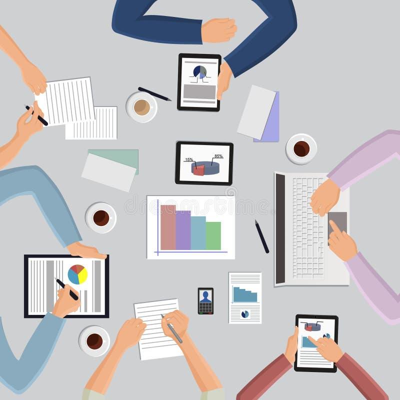 Biznesowy spotkanie w odgórnym widoku ilustracji