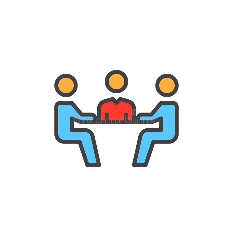 Biznesowy spotkanie wypełniał kontur ikonę, kolorowy wektoru znak ilustracja wektor