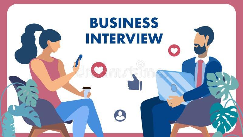 Biznesowy spotkanie, Zatrudnieniowego wywiadu mieszkania sztandar ilustracji