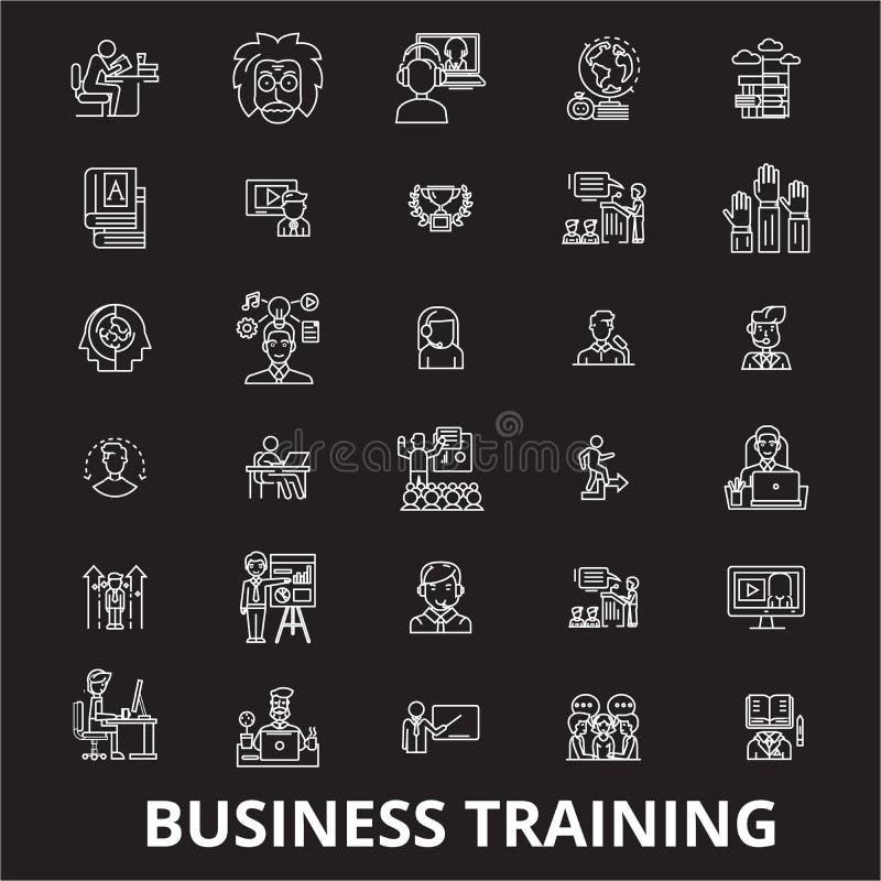 Biznesowy stażowy editable kreskowy ikony wektorowy ustawiający na czarnym tle Biznesowe stażowe białe kontur ilustracje ilustracja wektor