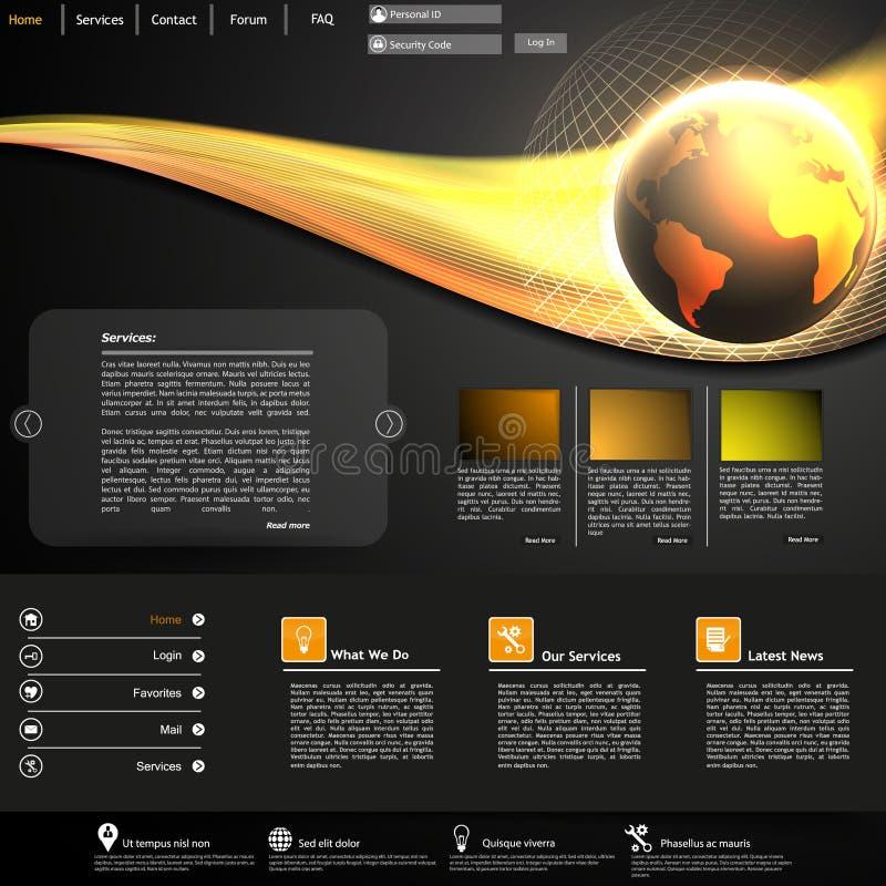 Biznesowy strona internetowa szablon z Błyszczącą kuli ziemskiej ilustracją ilustracji