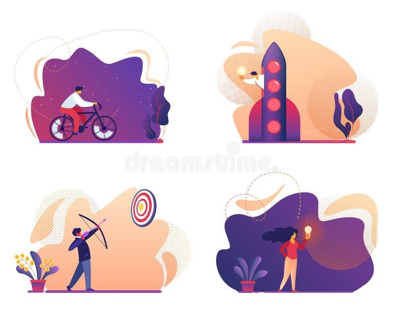 Biznesowy sukces, Zaczyna W górę, bicykl, pomysł ikony set royalty ilustracja