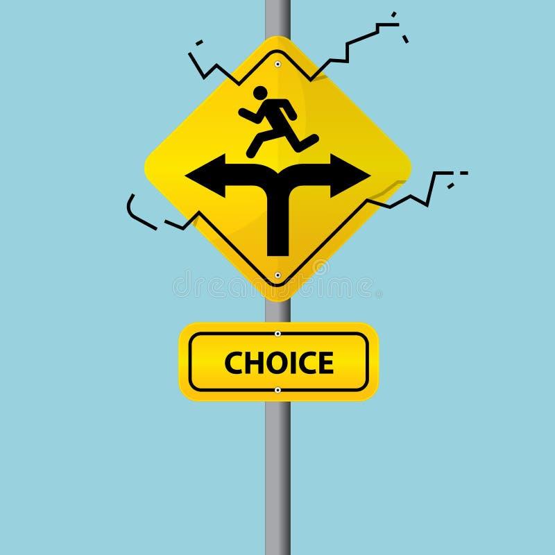 Biznesowy symbol na drogowym znaku wyborowy pojęcie wektor ilustracji