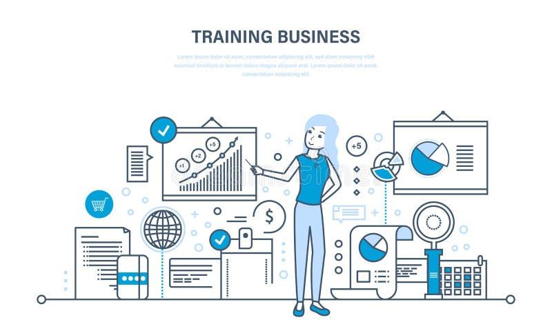 Biznesowy szkolenie, konsultować, uczyć się, uczyć, profesjonalista i kariera przyrost, praca zespołowa ilustracji