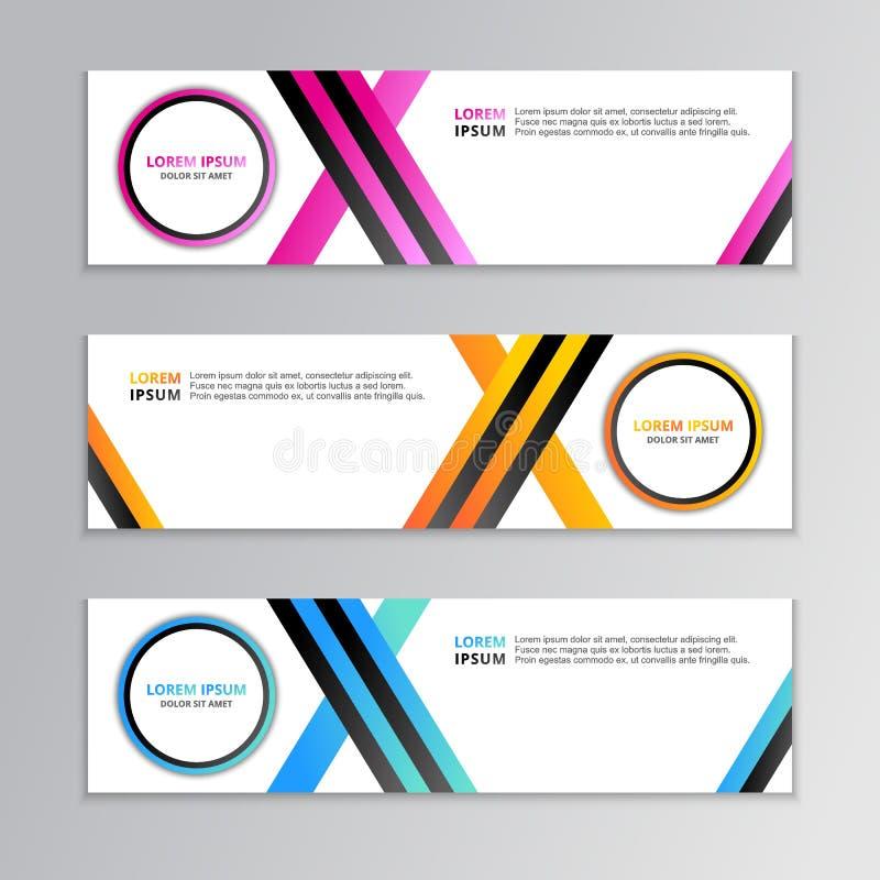 Biznesowy sztandaru szablon, układu tła projekt, Korporacyjny Geometryczny sieć chodnikowiec lub stopka w gradientowym kolorze, royalty ilustracja