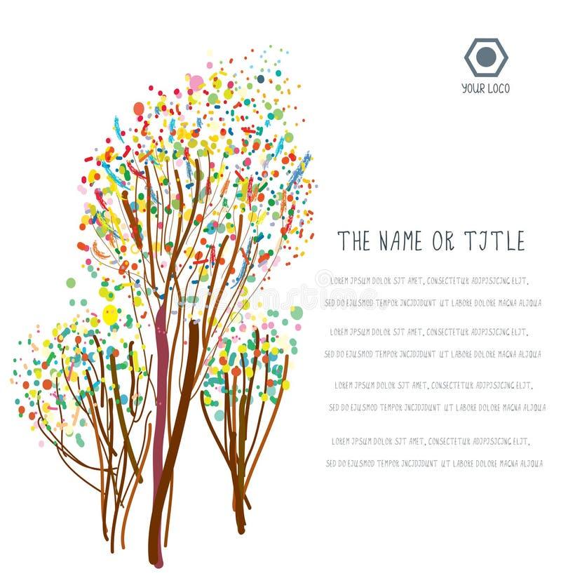 Biznesowy tło z abstrakcjonistycznymi drzewami i układem ilustracji
