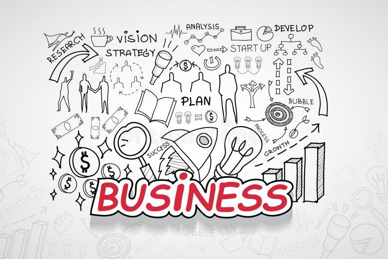 Biznesowy tekst Z kreatywnie rysunków wykresów i map biznesowego sukcesu strategii planu pomysłem, inspiraci pojęcia nowożytnego  royalty ilustracja