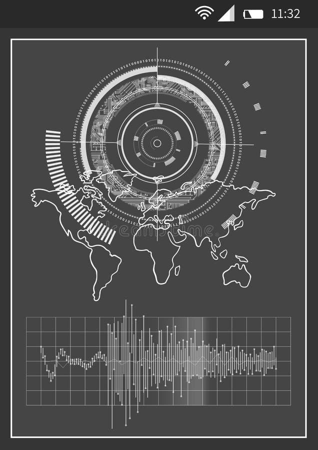 Biznesowy telefonu interfejs z grafika ilustracja wektor
