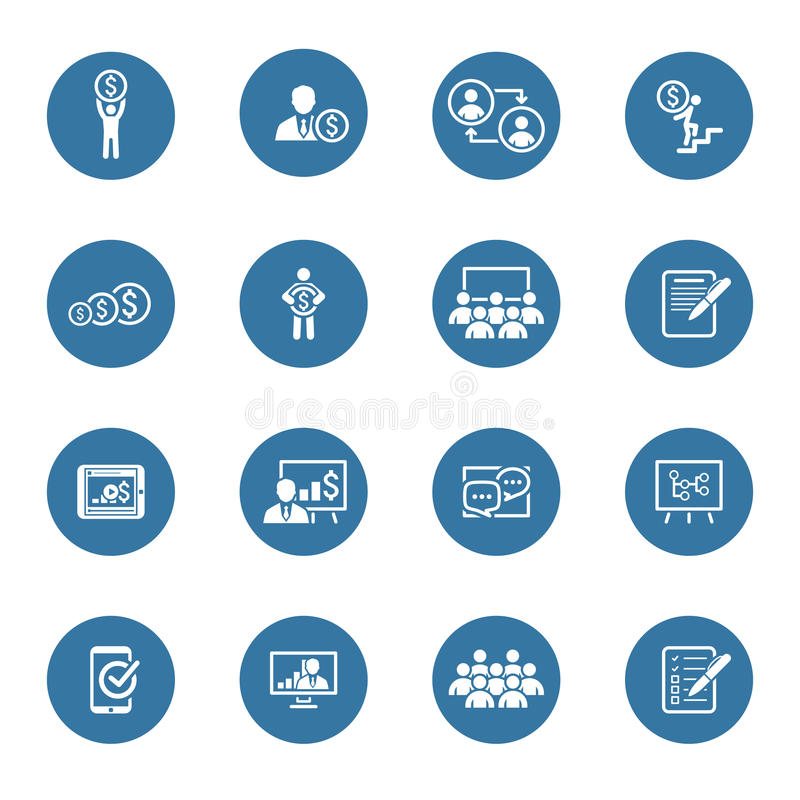 Biznesowy trenowanie ikony set uczyć się w sieci Płaski projekt royalty ilustracja