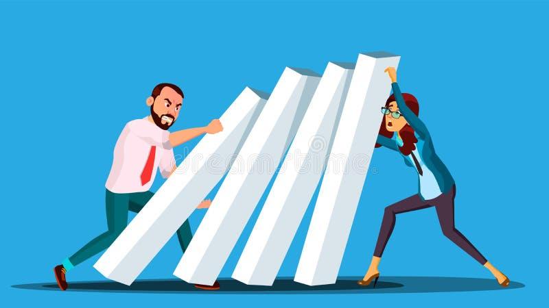 Biznesowy Turniejowy wektor Biznesmen I kobieta Od Dwa stron Pcha domina Przy Each Inny ilustracja ilustracji