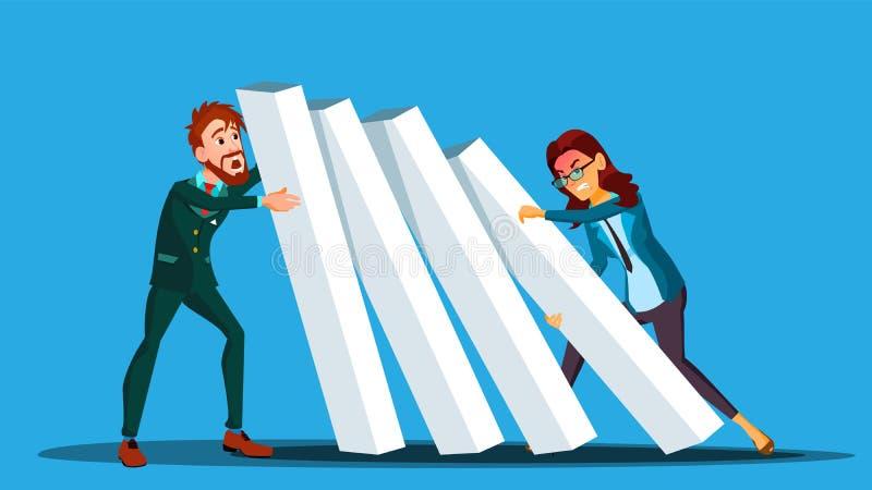 Biznesowy Turniejowy wektor Biznesmen I kobieta Od Dwa stron Pcha domina Przy Each Inny ilustracja royalty ilustracja