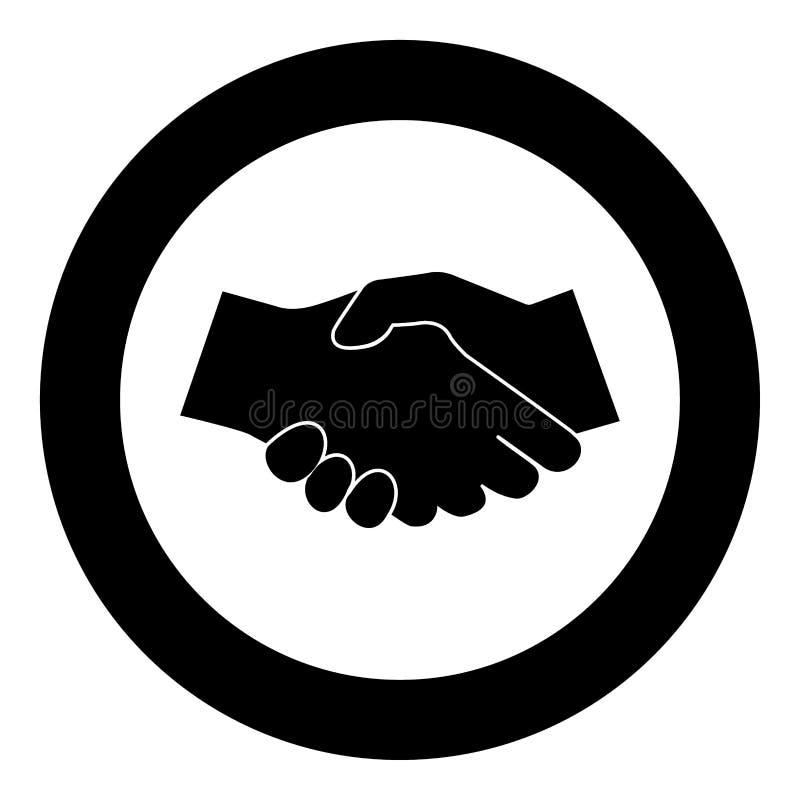 Biznesowy uścisk dłoni ikony czerni kolor w okręgu ilustracja wektor