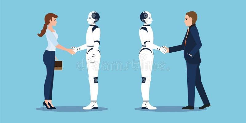 Biznesowy uścisk dłoni z biznesowymi istoty ludzkiej i robota rękami trząść royalty ilustracja