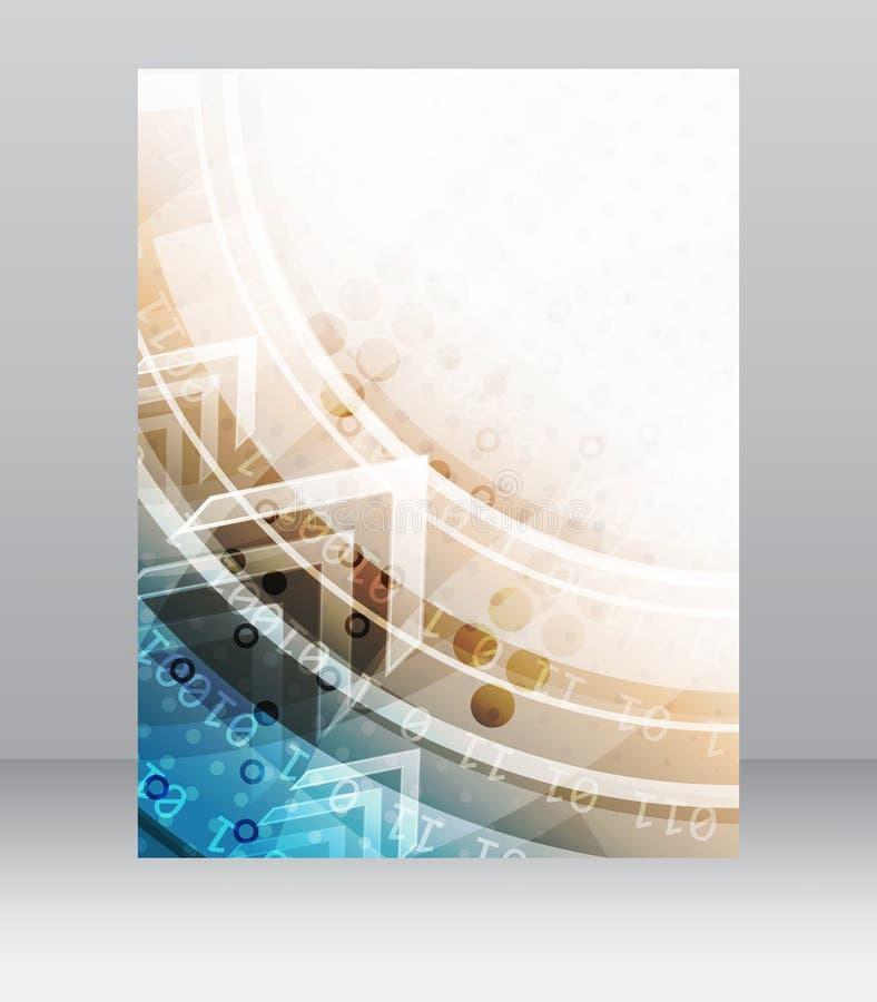Biznesowy ulotka szablon, broszurka lub korporacyjny sztandar z abstrakcjonistycznym technologia wzorem, ilustracji