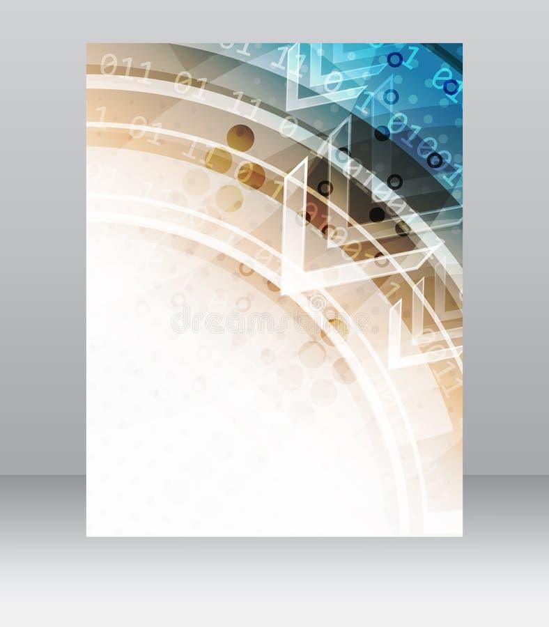 Biznesowy ulotka szablon, broszurka lub korporacyjny sztandar z abstrakcjonistycznym technologia wzorem, ilustracja wektor