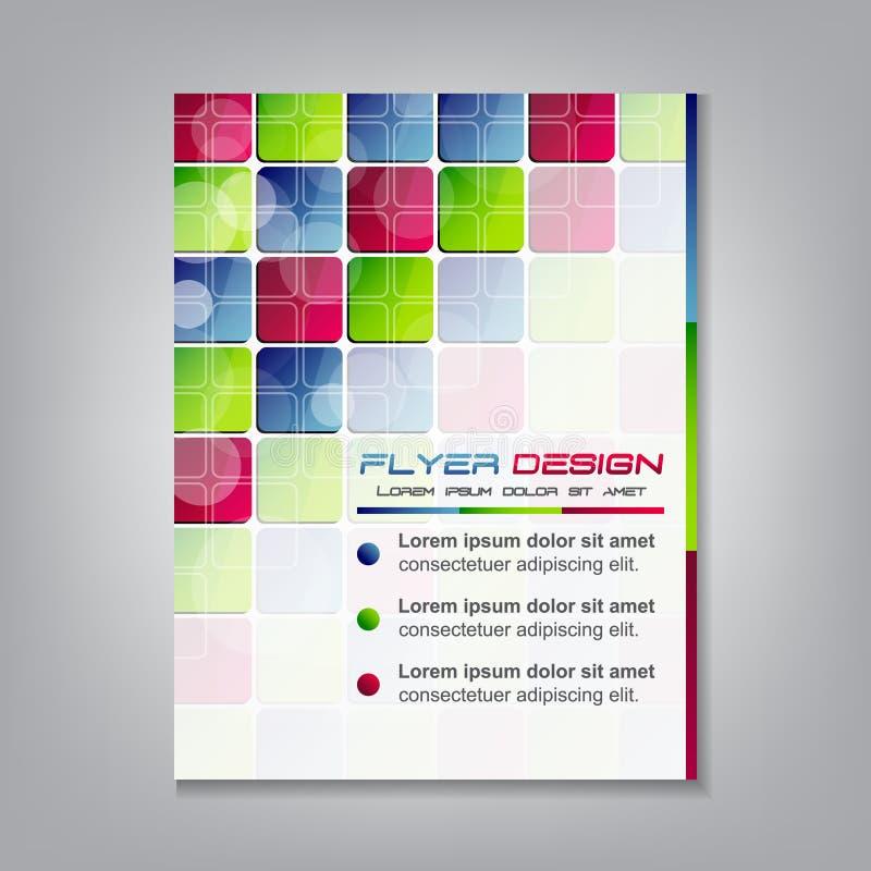 Biznesowy ulotka szablon lub korporacyjny sztandar z barwionymi kwadratami ilustracja wektor