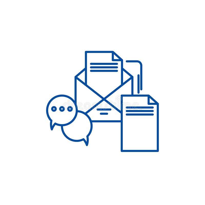 Biznesowy wiadomości linii ikony pojęcie Biznesowych wiadomości płaski wektorowy symbol, znak, kontur ilustracja ilustracja wektor