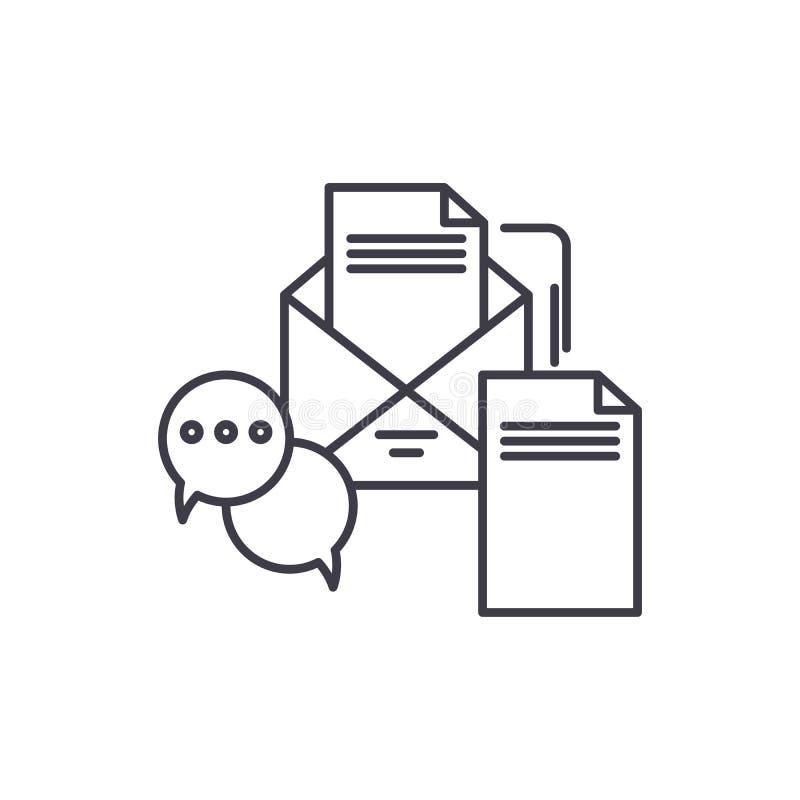 Biznesowy wiadomości linii ikony pojęcie Biznesowych wiadomości wektorowa liniowa ilustracja, symbol, znak ilustracji
