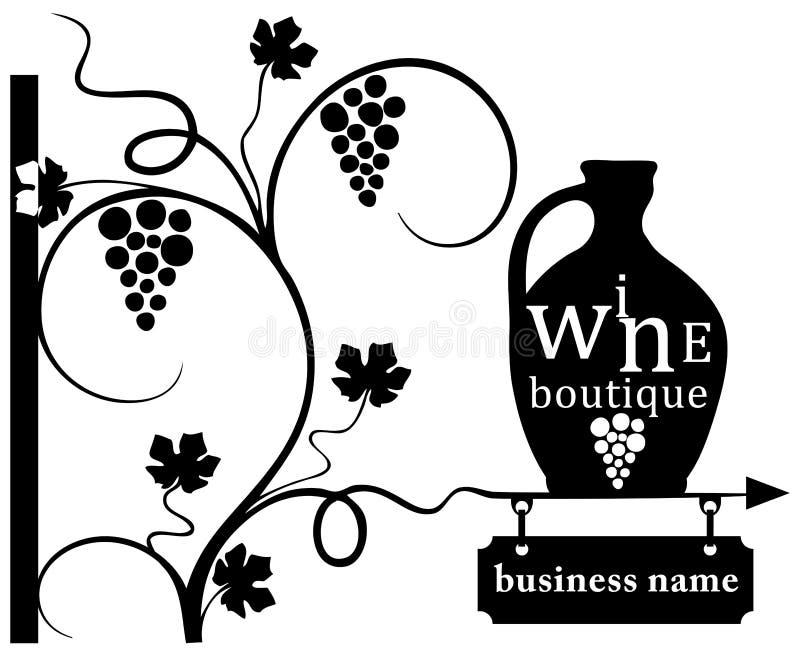 Biznesowy wino butika znak obrazy stock