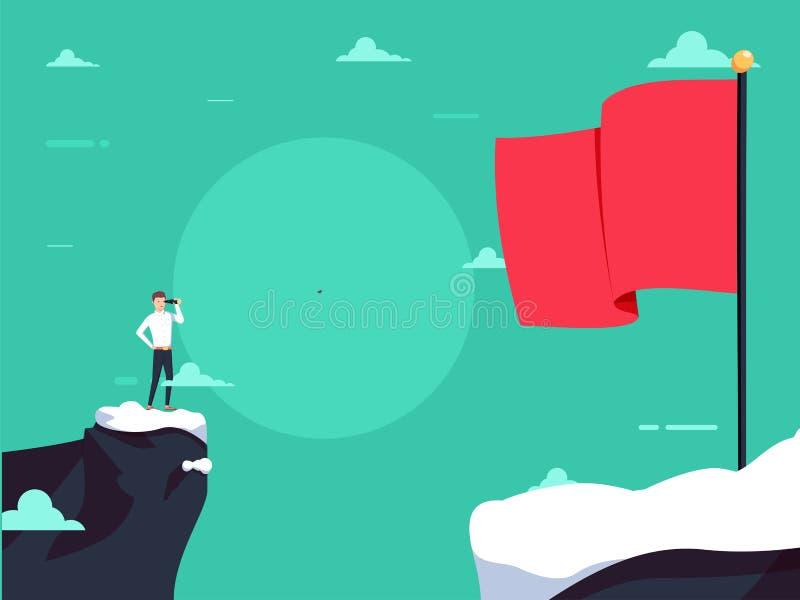 Biznesowy wizjonerski wektorowy conept z biznesmenem patrzeje z teleskopem nad przerwą Biznesowy wyzwanie ilustracji