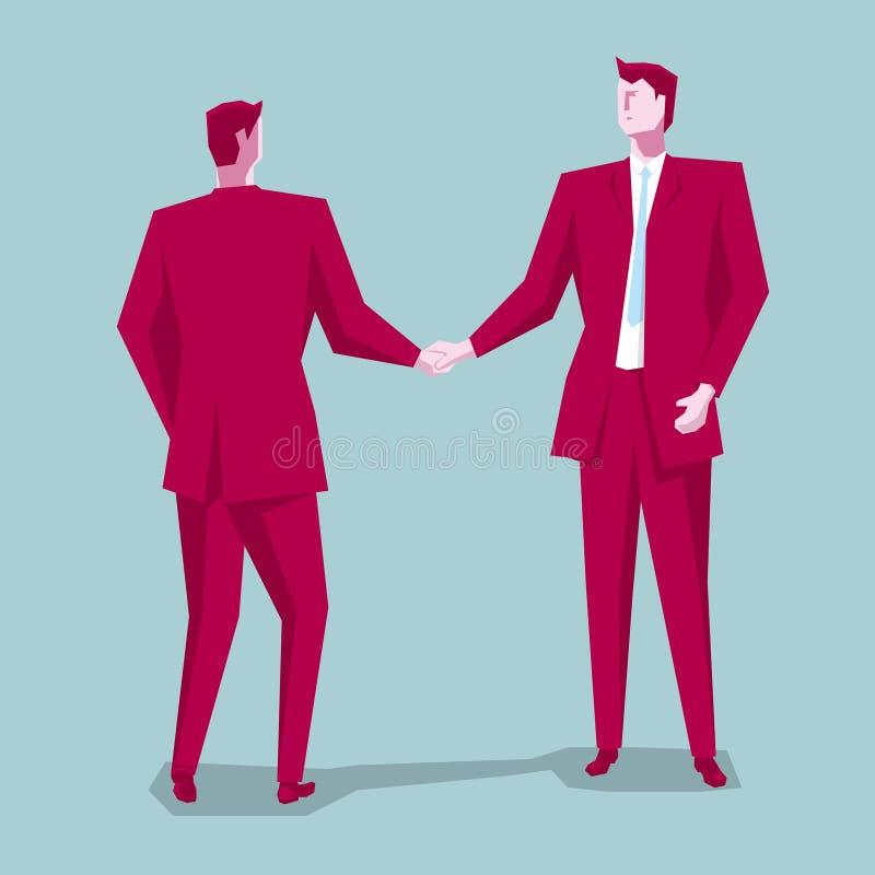 Biznesowy współpracy pojęcia projekt, dwa biznesmena trząść ręki royalty ilustracja