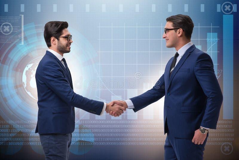 Biznesowy współpracy pojęcie z biznesmenami wręcza chwianie zdjęcie stock