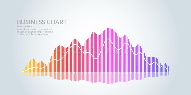 Biznesowy wykres na białym tle Mapa analitycy przyrosta i spadać zyski royalty ilustracja