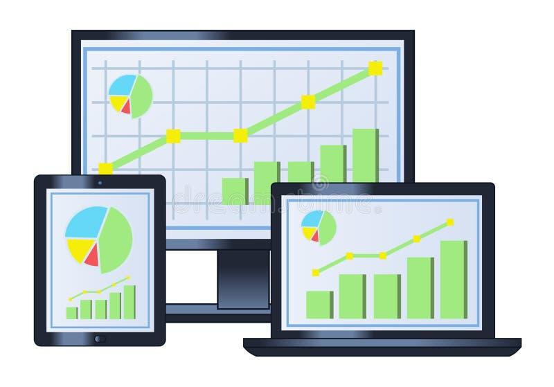 Biznesowy wykres na monitorze, laptopie i pastylce, ilustracja wektor