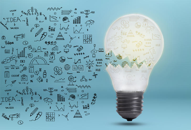Biznesowy wykres z żarówki pojęciem dla pomysłu, innowacja obrazy royalty free