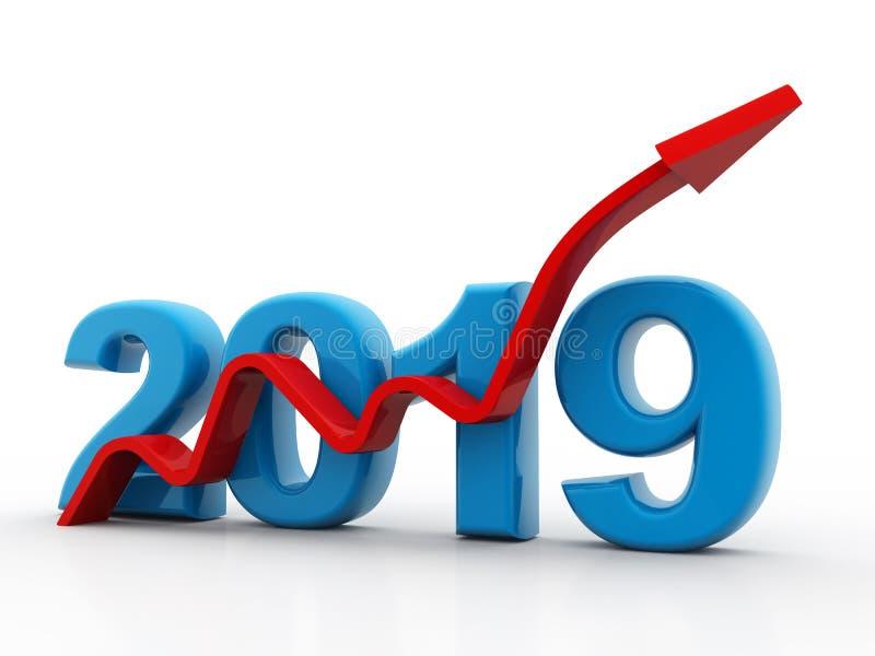 Biznesowy wykres z czerwoną strzałą w górę, reprezentuje przyrosta w roku 2019 ilustracji