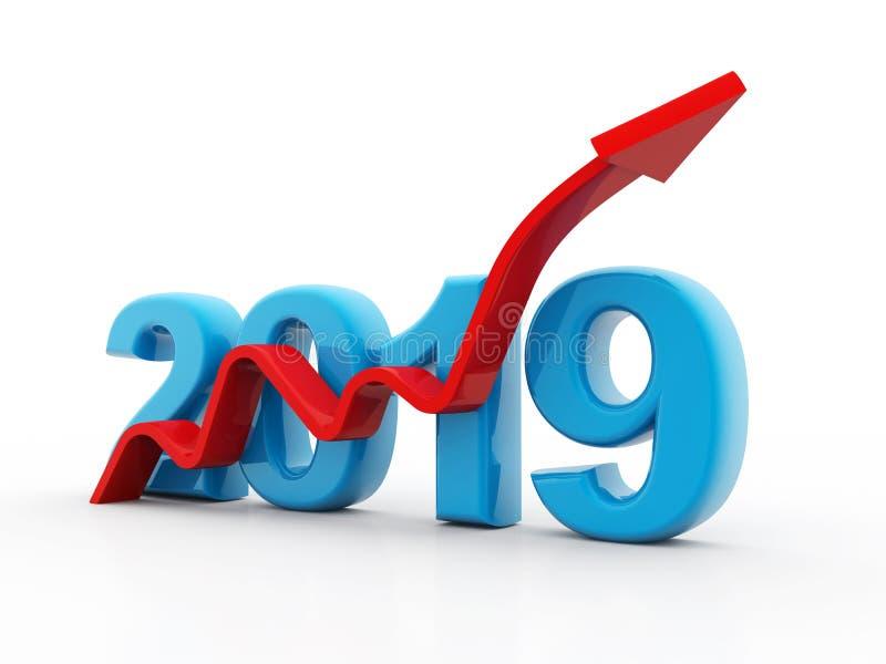 Biznesowy wykres z czerwoną strzałą w górę, reprezentuje przyrosta w roku 2019 ilustracja wektor