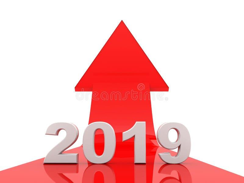Biznesowy wykres z czerwoną strzałą w górę, reprezentuje przyrosta w roku 2019 royalty ilustracja