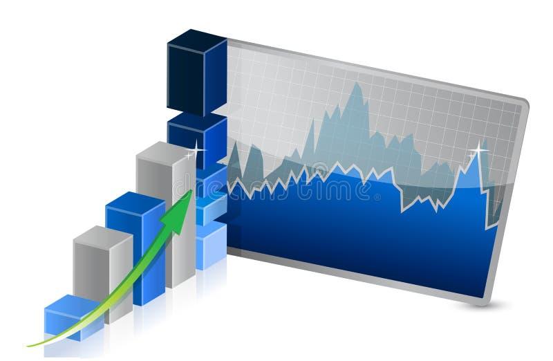 Biznesowy wykres z zapasami pokazuje zyski royalty ilustracja