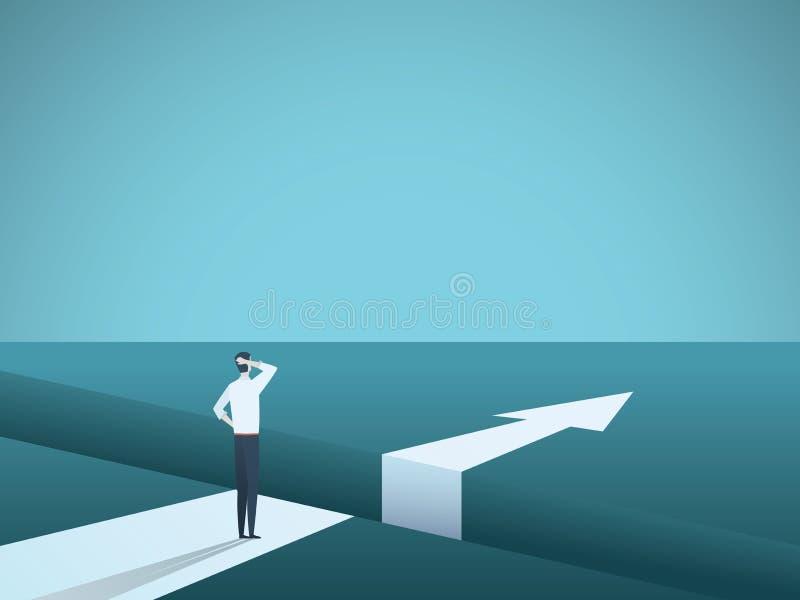 Biznesowy wyzwania i rozwiązania wektorowy pojęcie z biznesmenem stoi nad dużą przerwą Symbol pokonywanie przeszkody ilustracji