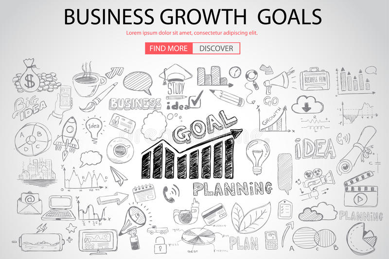 Biznesowy Wzrostowy celu concet z Doodle projekta stylem royalty ilustracja