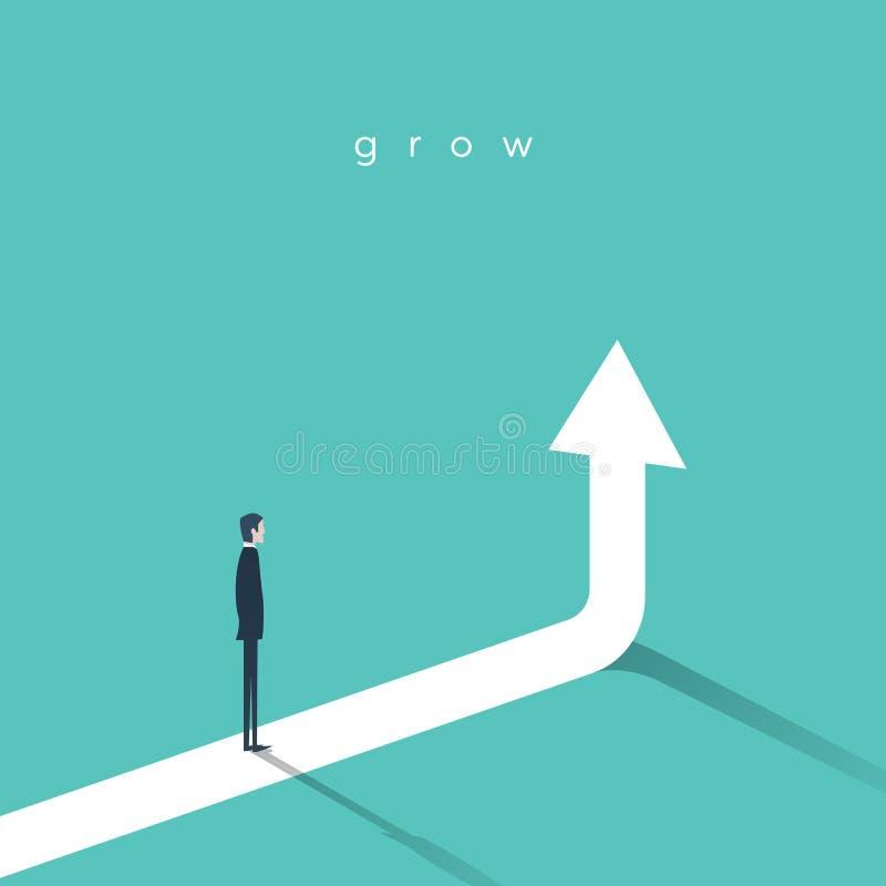 Biznesowy wzrostowy wektorowy pojęcie z biznesmenem i pionowo strzała iść up ilustracji