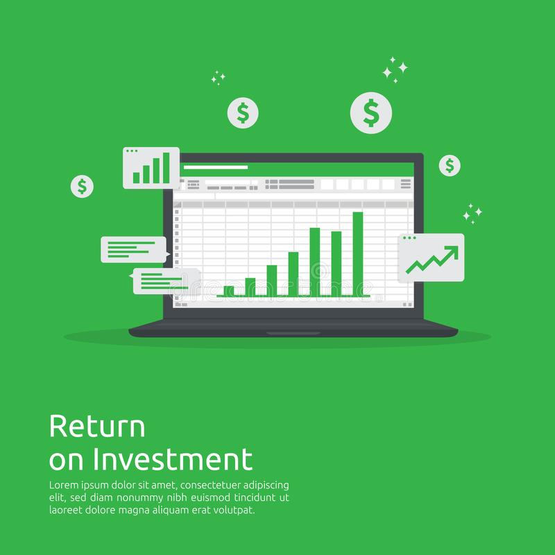 Biznesowy wzrostowy wykres i strzały sporządzamy mapę wzrost sukces Wskaźnika rentowności ROI lub przyrostowy zysku pojęcie finan royalty ilustracja