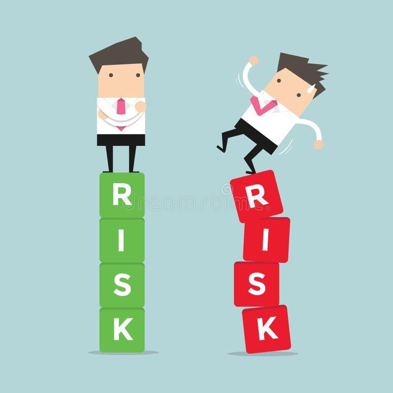 Biznesowy zarządzanie ryzykiem różnica biznesmen między niepowodzeniem i sukcesem royalty ilustracja