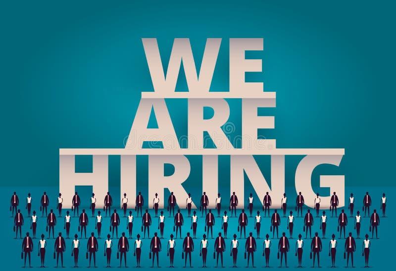 Biznesowy zatrudnia pojęcie HR kierownik zatrudnia pracownika lub pracowników dla pracy Poborowy personel lub personel w firmie ilustracji