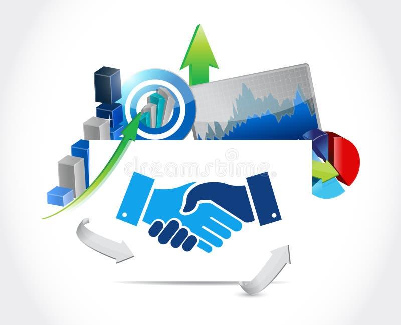 biznesowy zgoda uścisku dłoni wykresu pojęcie ilustracji