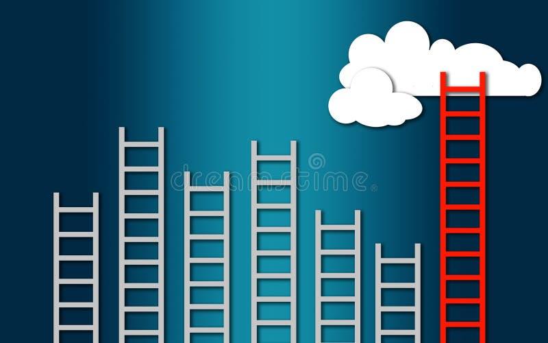 Biznesowy zwycięzcy pojęcie, chmury z drabinami ilustracja wektor