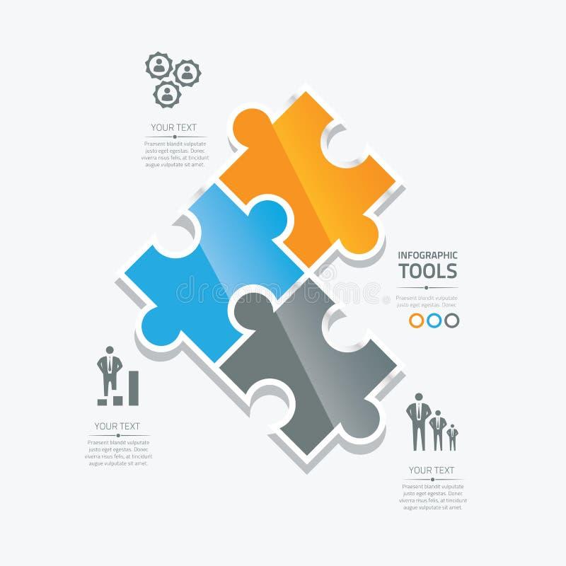 Biznesowych łamigłówka kawałków infographic opcja wytłacza wzory ve ilustracji
