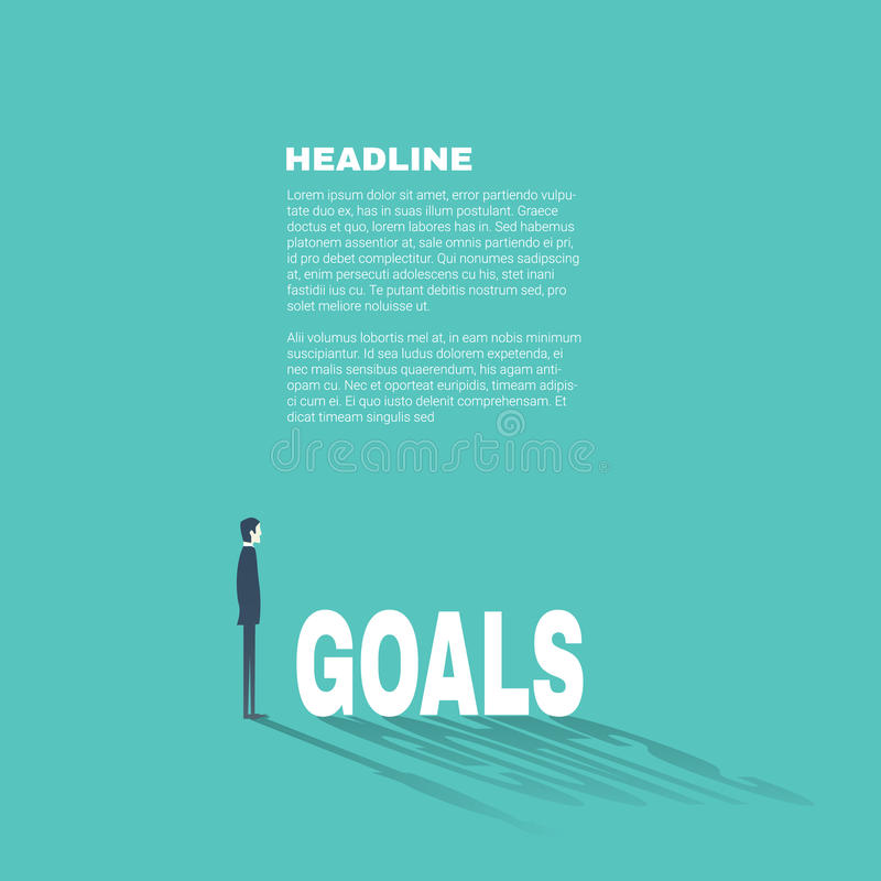 Biznesowych celów prezentaci fachowy szablon z biznesmenem ilustracji